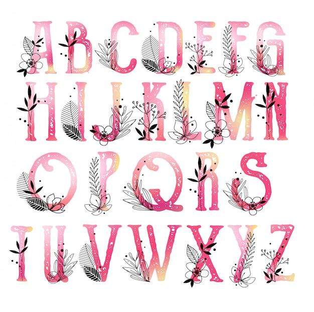 Coleção de monograma do alfabeto com flores