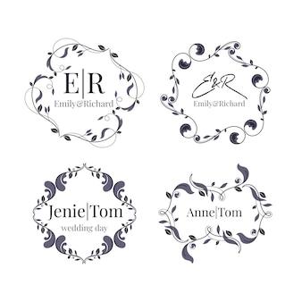 Coleção de monograma floral casamento