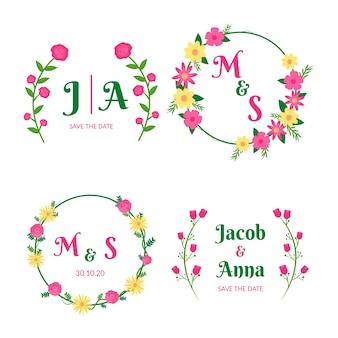 Coleção de monogramas de casamento colorido