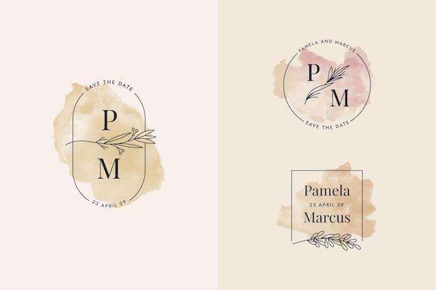 Coleção de monogramas de casamento em aquarela