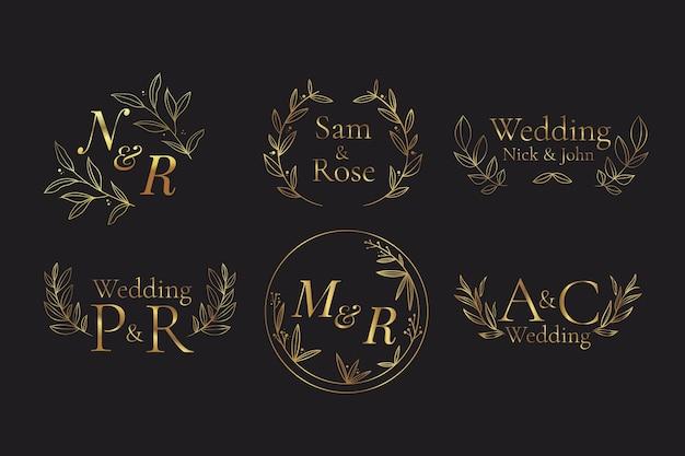 Coleção de monogramas de casamento pintados à mão