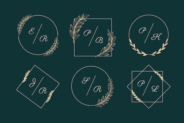 Coleção de monogramas elegantes de casamento