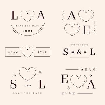Coleção de monogramas lineares de casamento