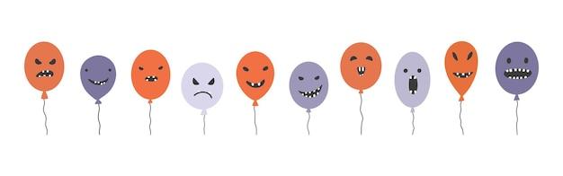 Coleção de monstros balões engraçados do feliz dia das bruxas conceito de férias com balões coloridos festivos