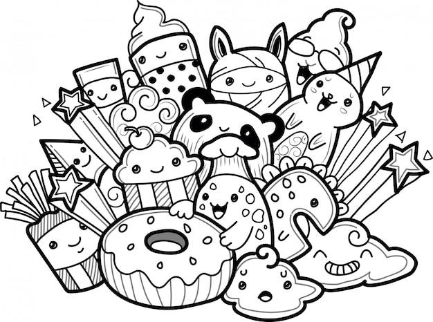 Coleção de monstros bonitinho no estilo doodle