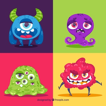 Coleção de monstros coloridos
