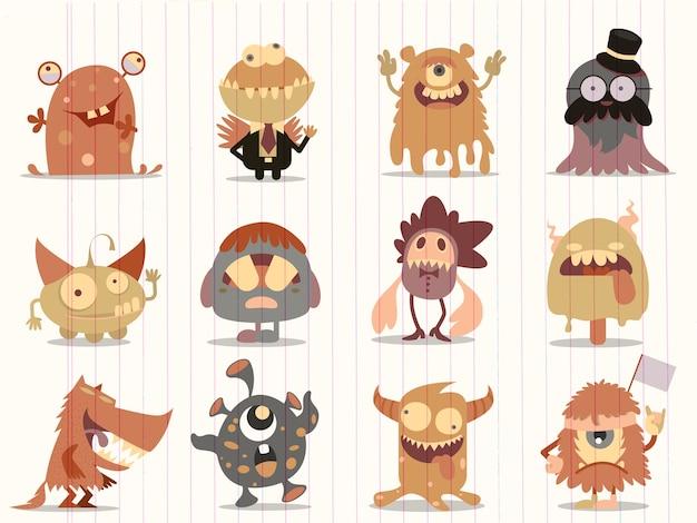 Coleção de monstros dos desenhos animados
