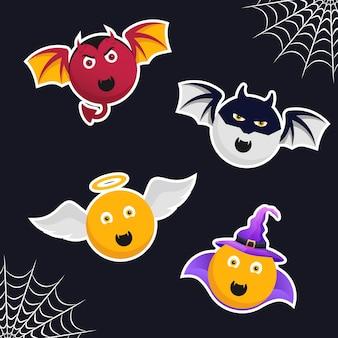 Coleção de monstros emoji fofos com adesivos de halloween