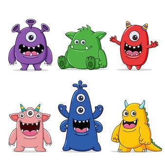 Coleção de monstros personagens fofinhos