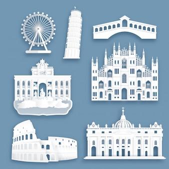 Coleção de monumentos famosos de itália em estilo de corte de papel