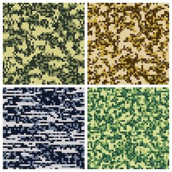 Coleção de mosaico de pixel de camuflagem militar