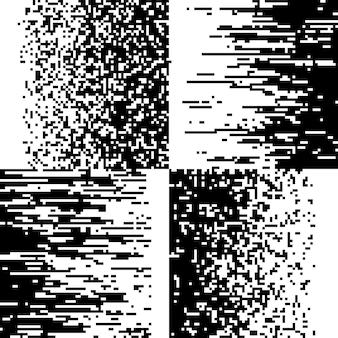 Coleção de mosaicos de pixel preto e branco
