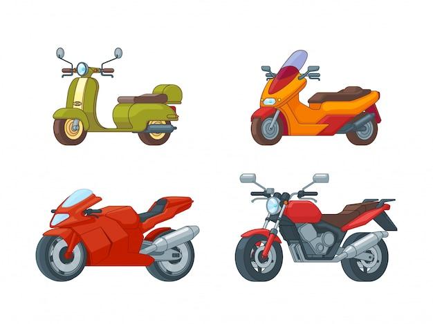 Coleção de motocicletas coloridas Vetor Premium