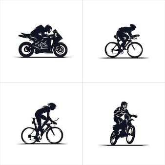 Coleção de motos e bicicletas Vetor Premium