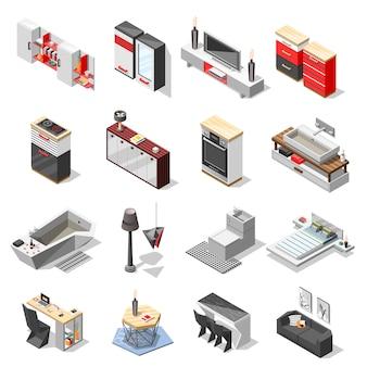 Coleção de móveis de interior de alta tecnologia