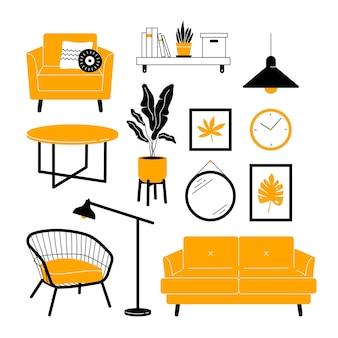 Coleção de móveis elementos de design de interiores