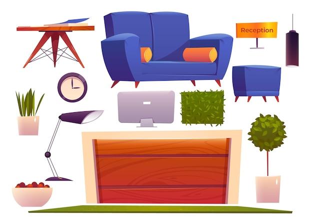 Coleção de móveis para hotéis planos