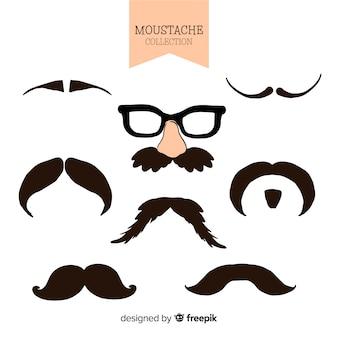 Coleção de movember de bigode desenhada de mão