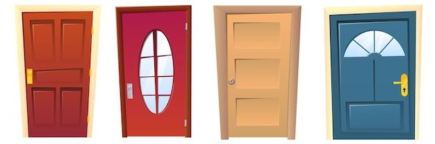 Coleção de muitas portas diferentes de desenhos animados