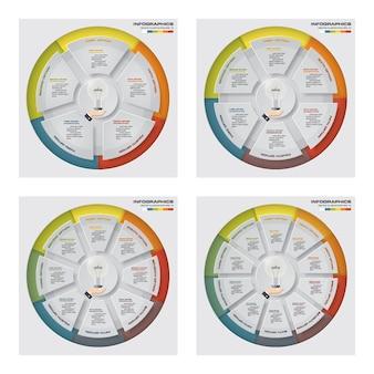 Coleção de muitos elementos de infográficos de gráfico de ciclo de passos.