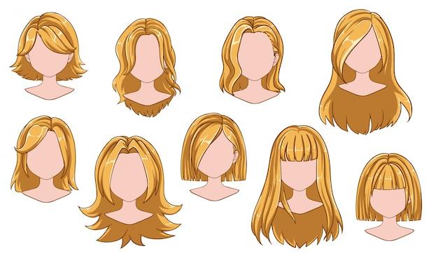 Coleção de mulher bonita penteado