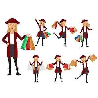 Coleção de mulher carregando sacolas de compras. loja, shopping. personagens de desenhos animados, isolados no fundo branco. ilustração plana.