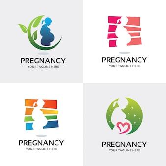 Coleção de mulher grávida logo set design template