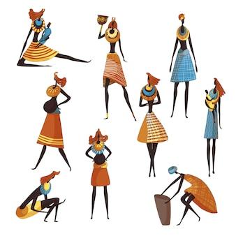 Coleção de mulheres africanas dos desenhos animados sobre fundo branco.