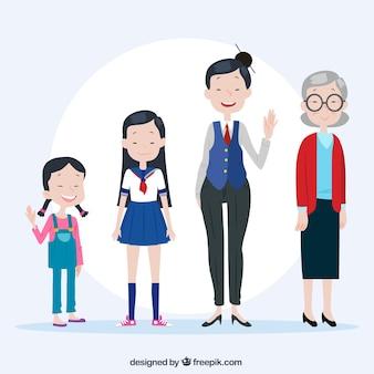 Coleção de mulheres asiáticas em diferentes idades