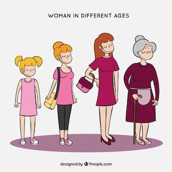 Coleção de mulheres brancas em diferentes idades