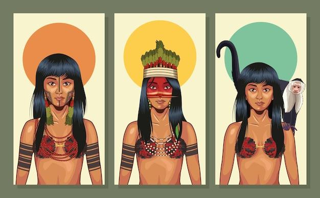 Coleção de mulheres indígenas com tecidos tradicionais