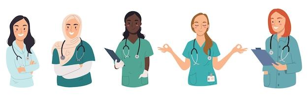 Coleção de mulheres médicas com estetoscópio isolado no fundo branco.