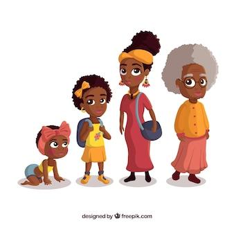 Coleção de mulheres negras em diferentes idades