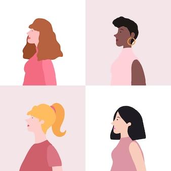 Coleção de mulheres no vetor de perfil