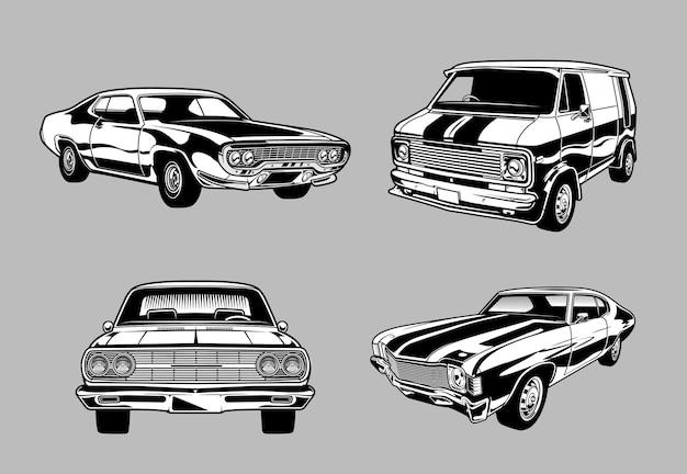 Coleção de muscle cars vintage e clássicos em carros monocromáticos estilo retro