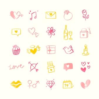 Coleção de namorados ilustrados