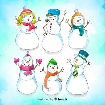 Coleção de natal boneco de neve bonito na mão desenhada estilo