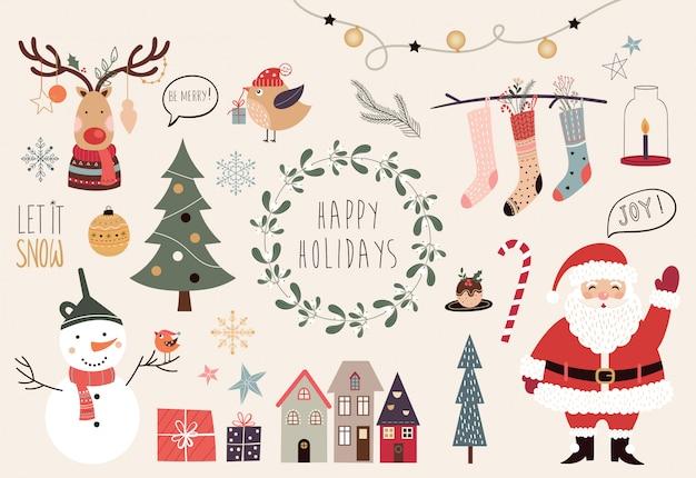 Coleção de natal com diferentes elementos decorativos de mão desenhada