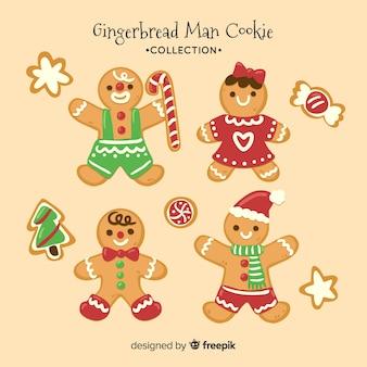 Coleção de natal de biscoitos de gengibre bonito