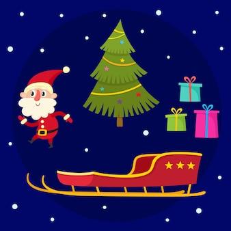 Coleção de natal do desenho animado do papai noel, árvore de natal, presentes e trenó