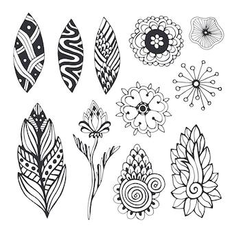 Coleção de natureza em estilo zentangle. conjunto de vetores desenhados à mão com flores e folhas de doodle