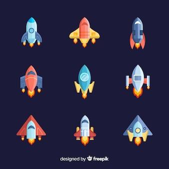 Coleção de nave espacial colorida com design plano