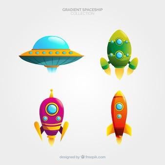 Coleção de nave espacial colorida com estilo gradiente