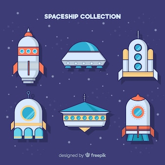 Coleção de nave espacial colorida mão desenhada