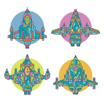 Coleção de nave espacial decorativa colorida