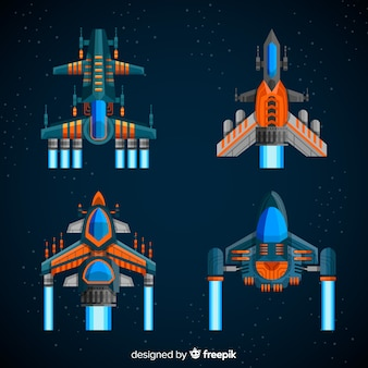 Coleção de nave espacial futurista com design plano