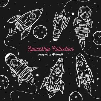 Coleção de nave espacial moderna mão desenhada