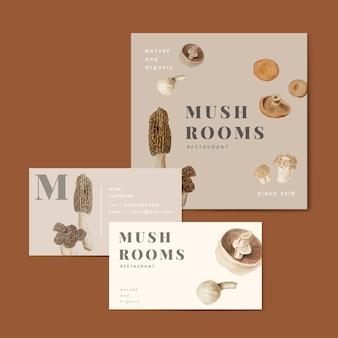 Coleção de negócios de design de cogumelo