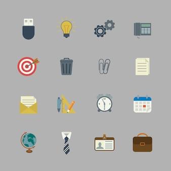 Coleção de negócios de suprimentos de papelaria plana