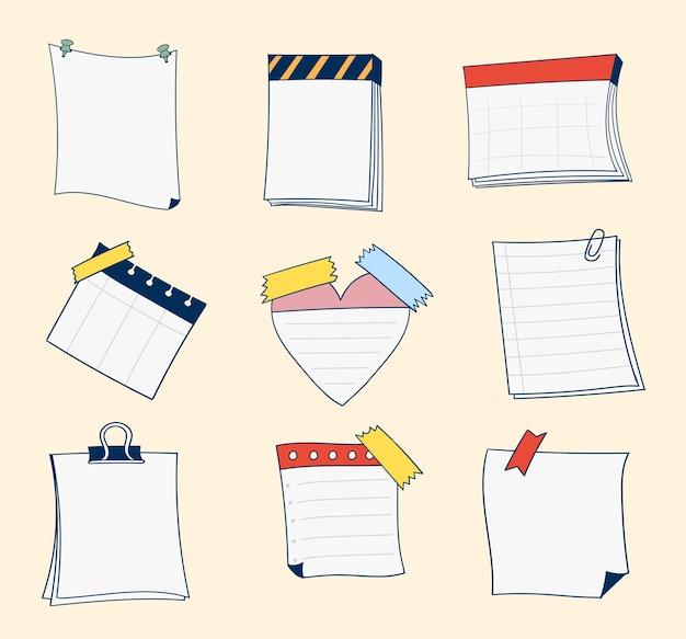 Coleção de notas adesivas em branco desenhada à mão